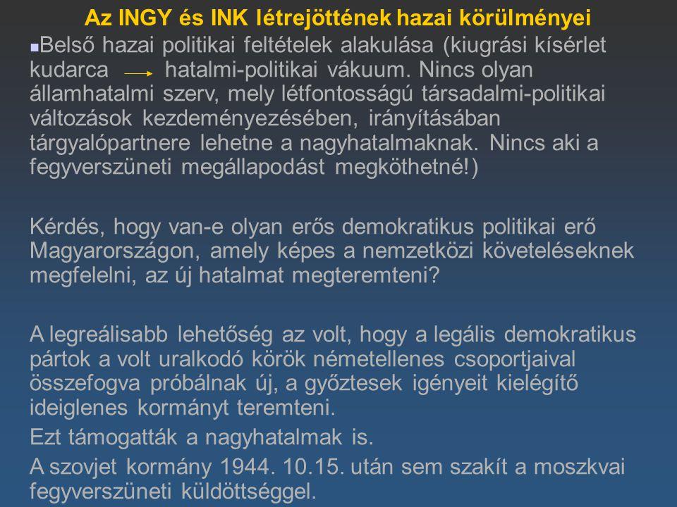 Az INGY és INK létrejöttének hazai körülményei Belső hazai politikai feltételek alakulása (kiugrási kísérlet kudarca hatalmi-politikai vákuum. Nincs o