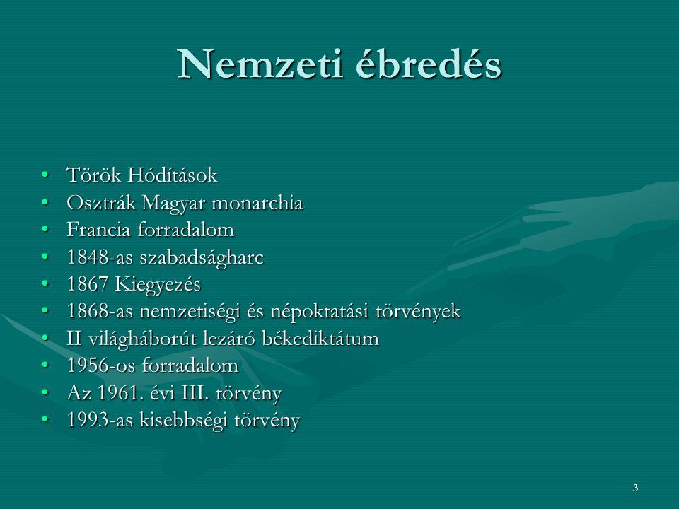 3 Nemzeti ébredés Török Hódítások Osztrák Magyar monarchia Francia forradalom 1848-as szabadságharc 1867 Kiegyezés 1868-as nemzetiségi és népoktatási