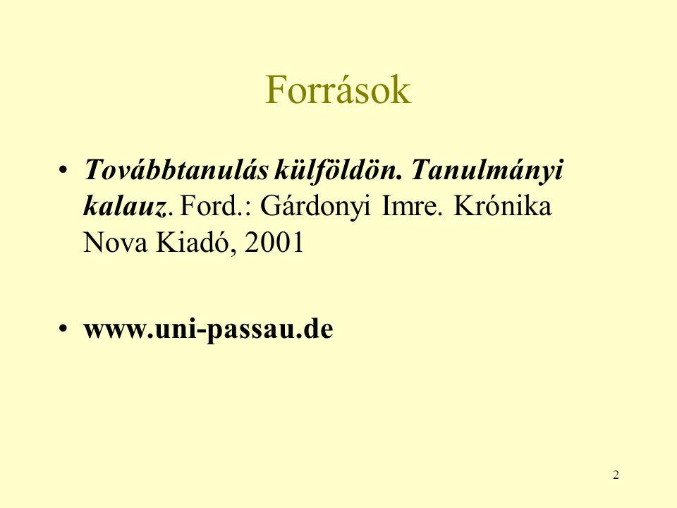 2 Források Továbbtanulás külföldön. Tanulmányi kalauz. Ford.: Gárdonyi Imre. Krónika Nova Kiadó, 2001 www.uni-passau.de