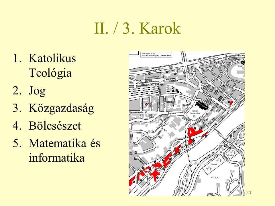 21 II. / 3. Karok 1.Katolikus Teológia 2.Jog 3.Közgazdaság 4.Bölcsészet 5.Matematika és informatika