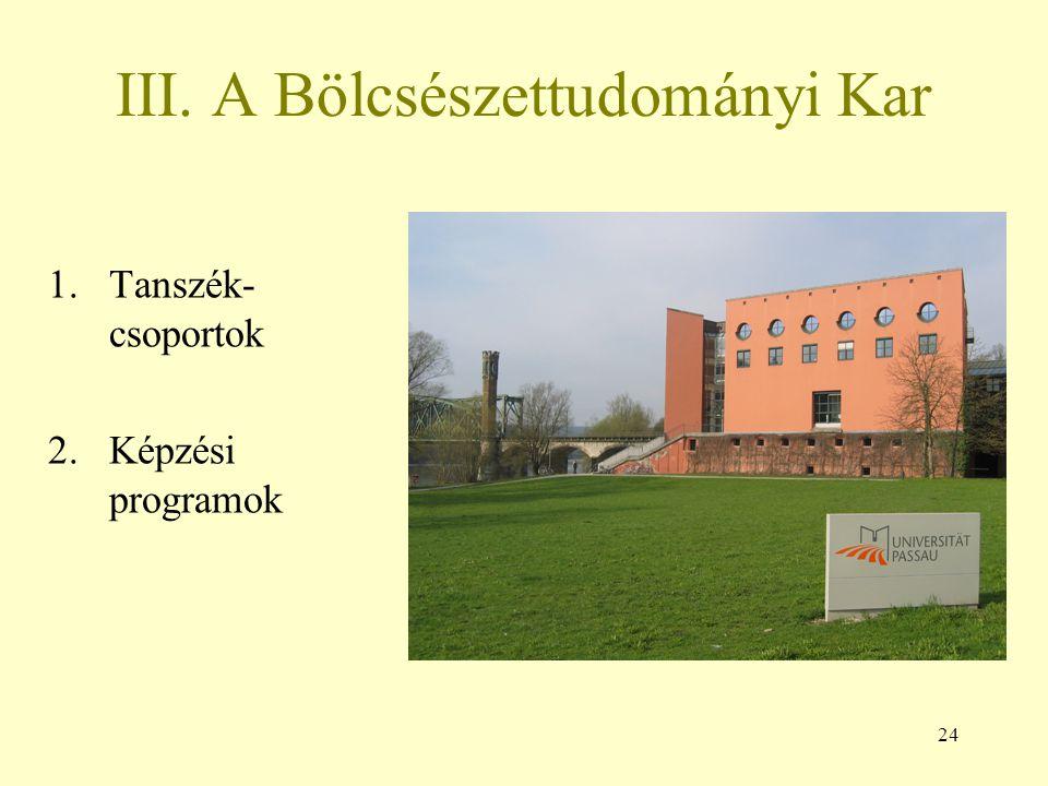 24 III. A Bölcsészettudományi Kar 1.Tanszék- csoportok 2.Képzési programok