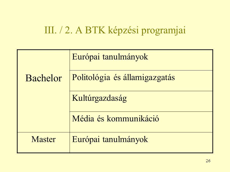 26 III. / 2. A BTK képzési programjai Európai tanulmányok Bachelor Politológia és államigazgatás Kultúrgazdaság Média és kommunikáció MasterEurópai ta