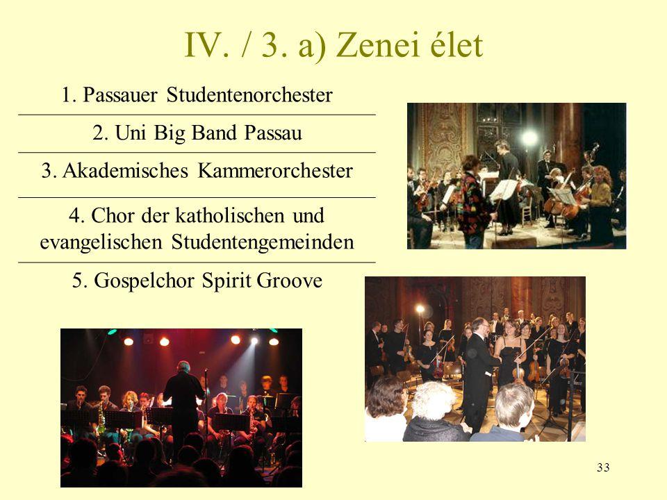 33 IV. / 3. a) Zenei élet 1. Passauer Studentenorchester 2. Uni Big Band Passau 3. Akademisches Kammerorchester 4. Chor der katholischen und evangelis