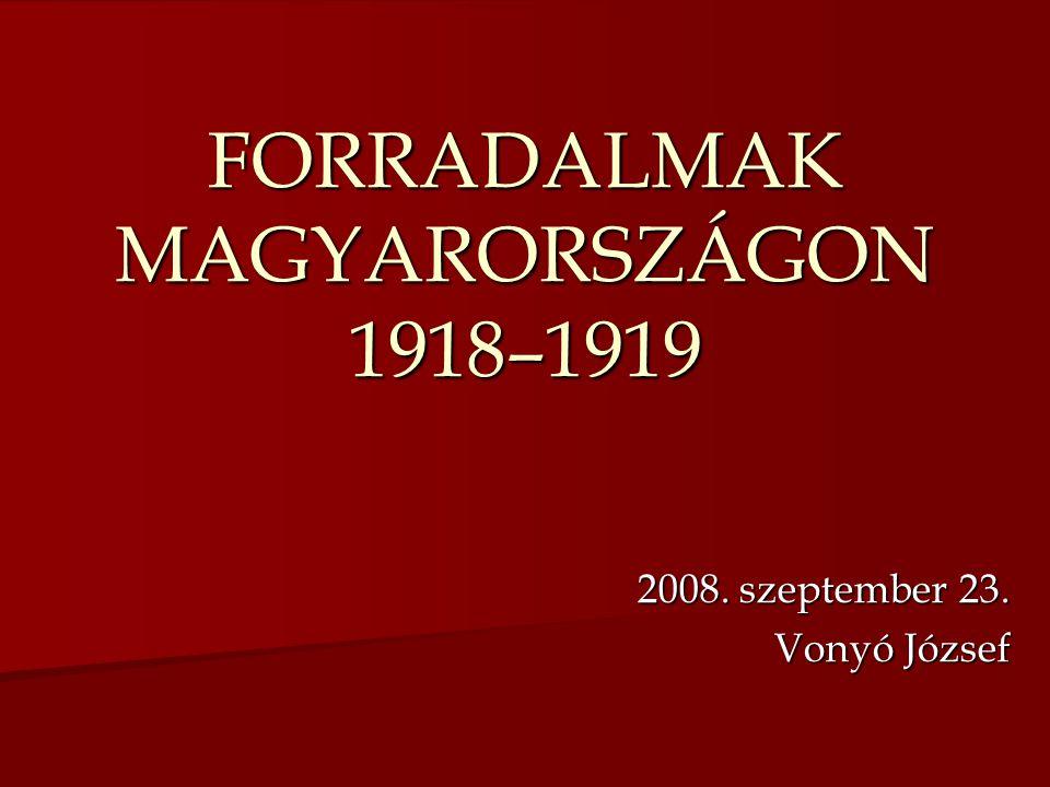 FORRADALMAK MAGYARORSZÁGON 1918–1919 2008. szeptember 23. Vonyó József