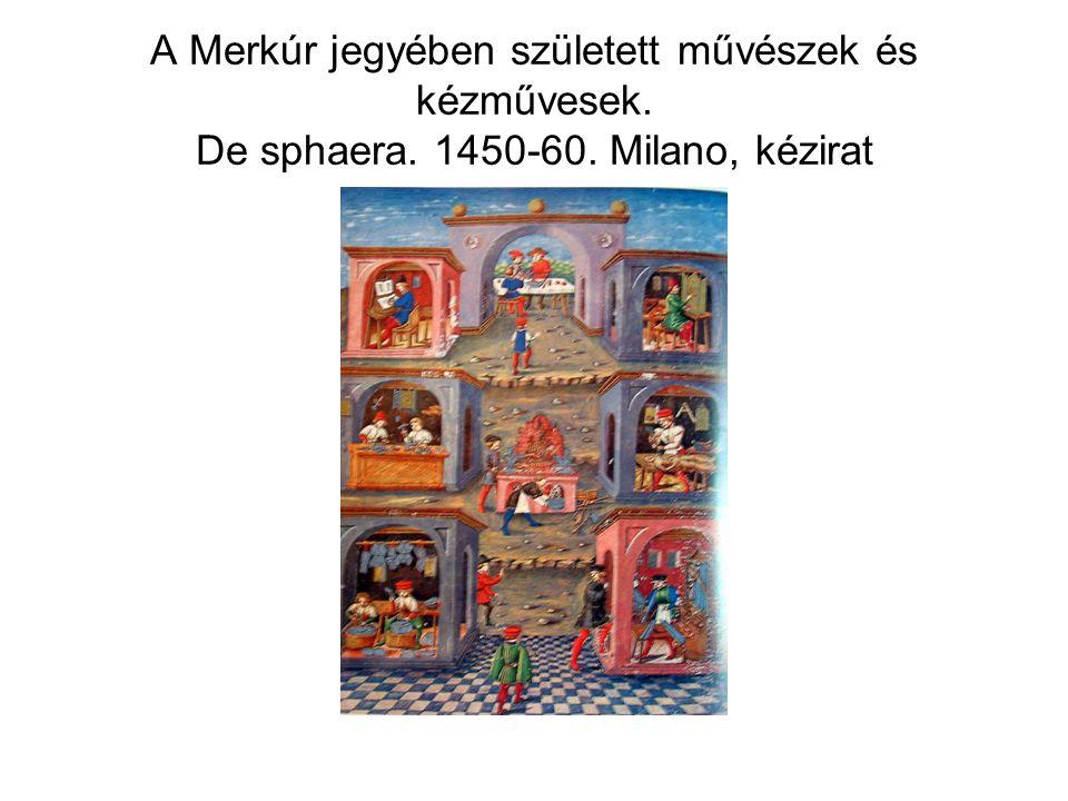 A Merkúr jegyében született művészek és kézművesek. De sphaera. 1450-60. Milano, kézirat