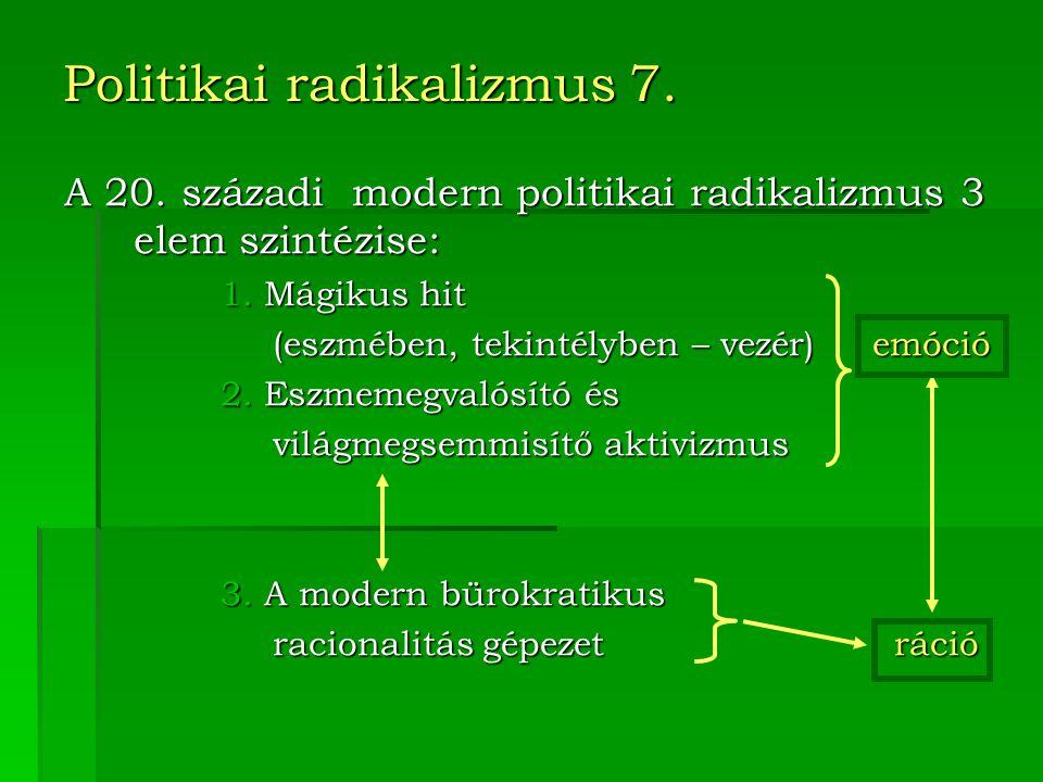 Politikai radikalizmus 7. A 20.