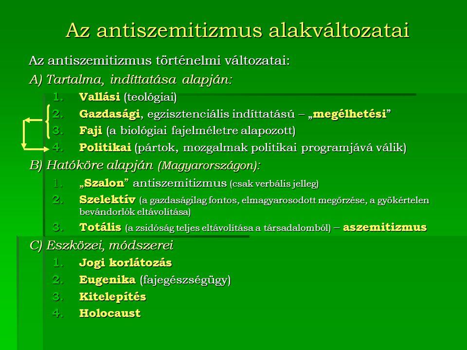 Az antiszemitizmus alakváltozatai Az antiszemitizmus történelmi változatai: A) Tartalma, indíttatása alapján: 1.