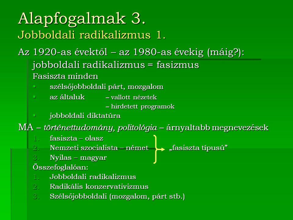 Alapfogalmak 3. Jobboldali radikalizmus 1.