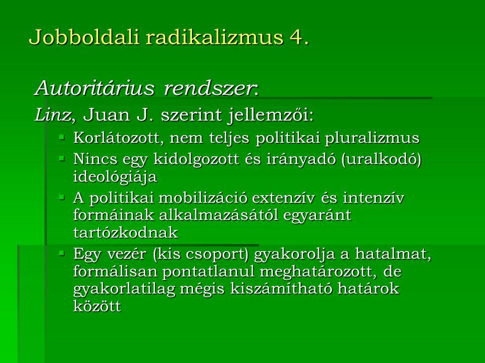Jobboldali radikalizmus 4.Autoritárius rendszer : Linz, Juan J.