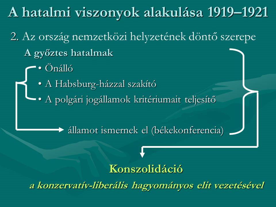 A hatalmi viszonyok alakulása 1919–1921 2.2.