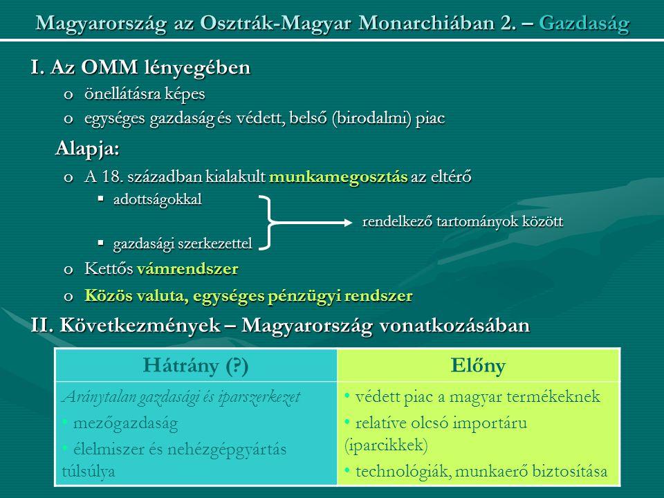Magyarország az Osztrák-Magyar Monarchiában 2.– Gazdaság I.