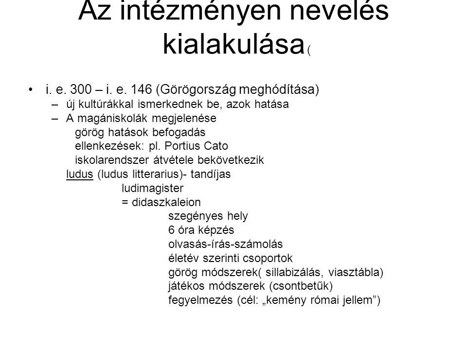 Grammatikai iskola Görög magántanitók hozzák létre i.