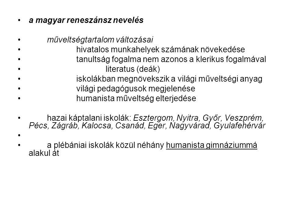 a magyar reneszánsz nevelés műveltségtartalom változásai hivatalos munkahelyek számának növekedése tanultság fogalma nem azonos a klerikus fogalmával