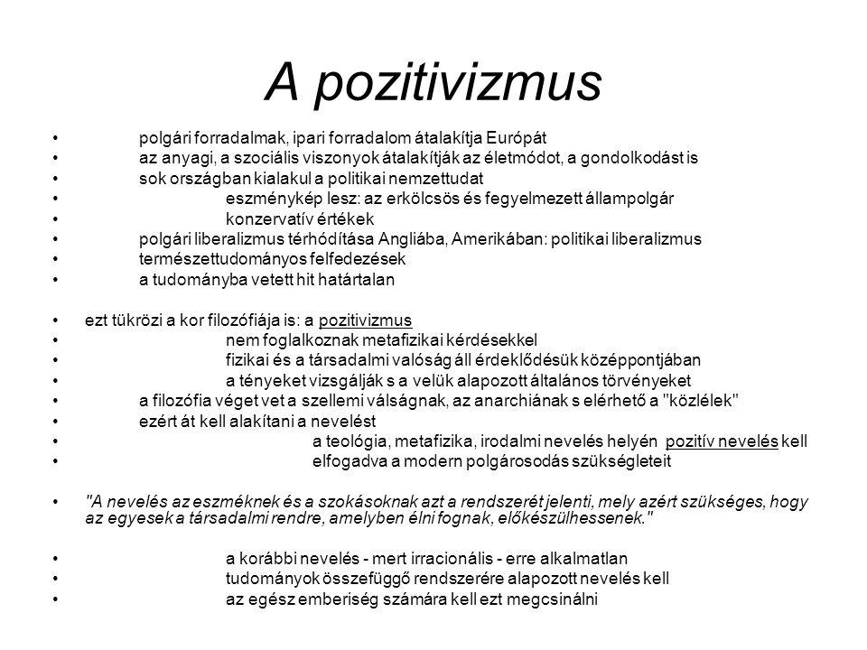 A pozitivizmus polgári forradalmak, ipari forradalom átalakítja Európát az anyagi, a szociális viszonyok átalakítják az életmódot, a gondolkodást is s