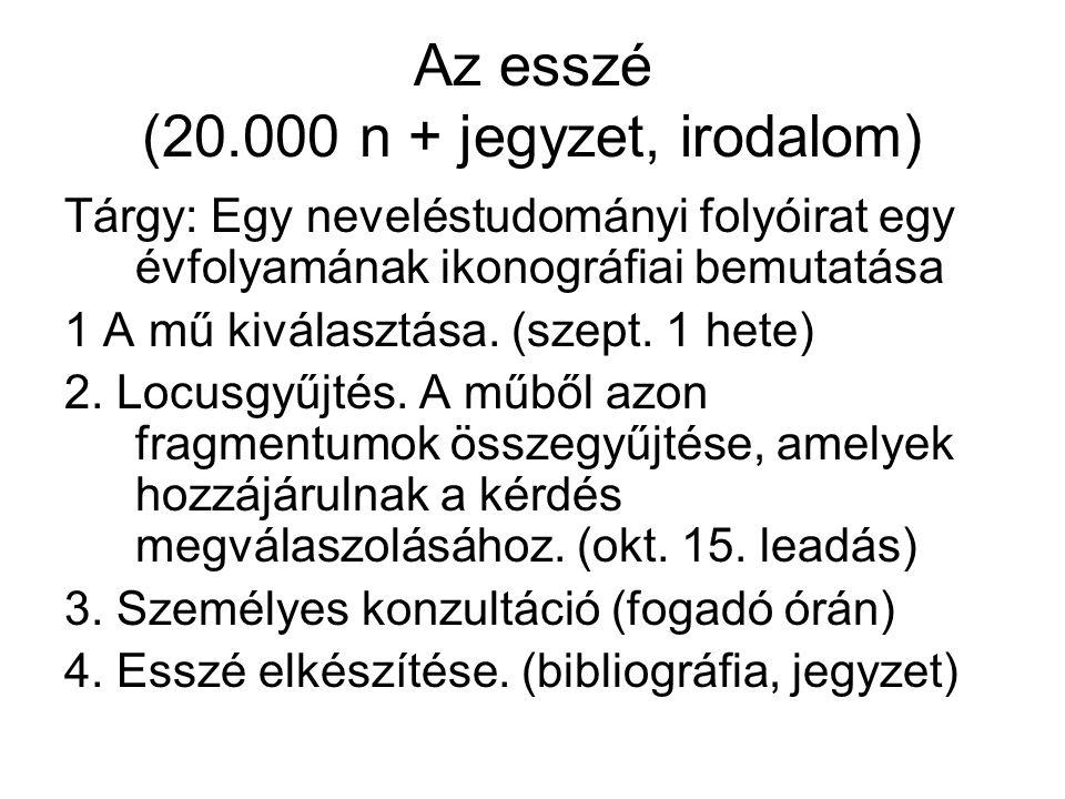 Az esszé (20.000 n + jegyzet, irodalom) Tárgy: Egy neveléstudományi folyóirat egy évfolyamának ikonográfiai bemutatása 1 A mű kiválasztása.