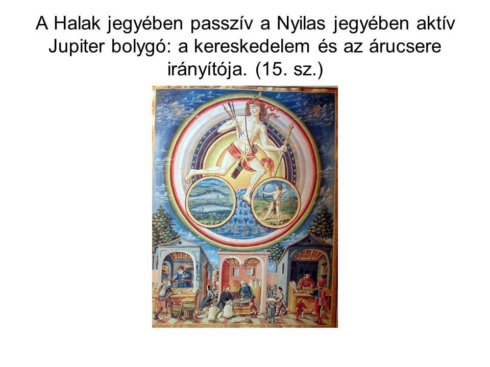 A Halak jegyében passzív a Nyilas jegyében aktív Jupiter bolygó: a kereskedelem és az árucsere irányítója. (15. sz.)