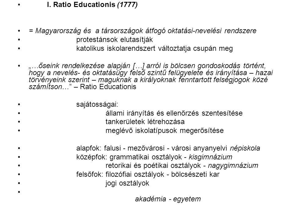 I. Ratio Educationis (1777) = Magyarország és a társországok átfogó oktatási-nevelési rendszere protestánsok elutasítják katolikus iskolarendszert vál