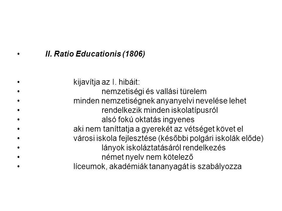 II.Ratio Educationis (1806) kijavítja az I.