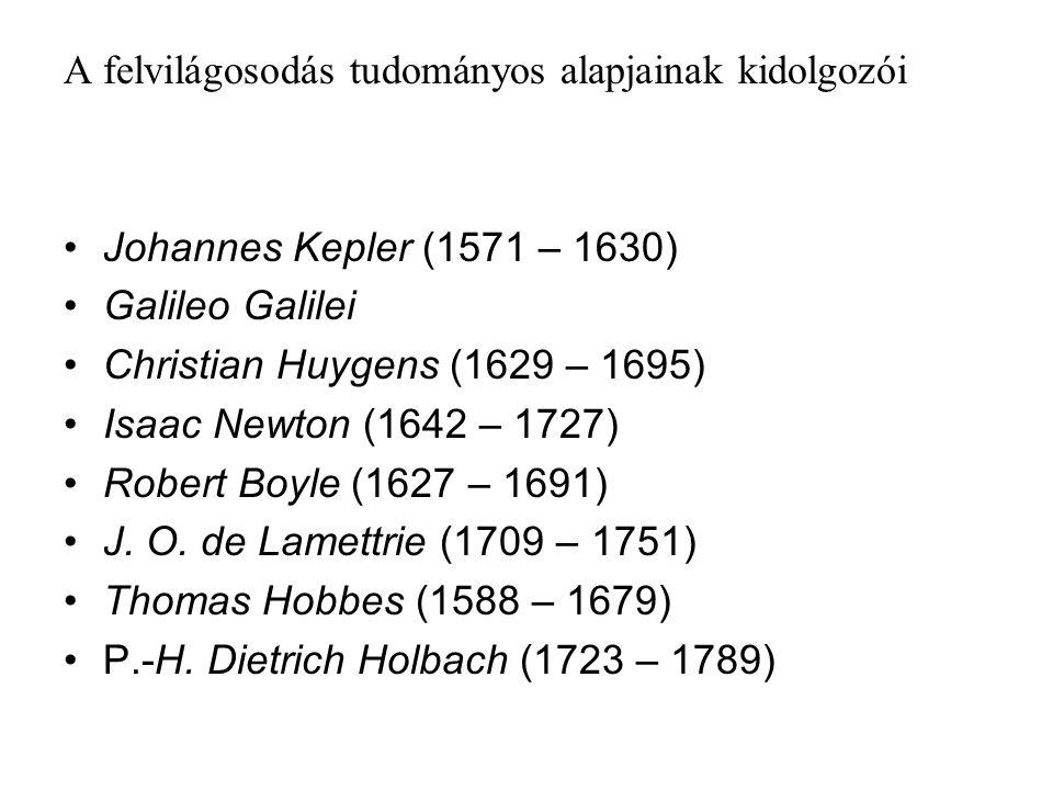 A felvilágosodás tudományos alapjainak kidolgozói Johannes Kepler (1571 – 1630) Galileo Galilei Christian Huygens (1629 – 1695) Isaac Newton (1642 – 1727) Robert Boyle (1627 – 1691) J.