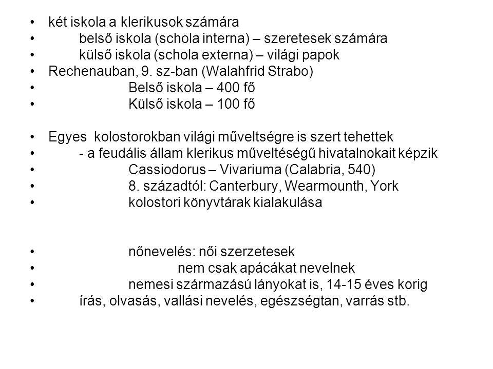két iskola a klerikusok számára belső iskola (schola interna) – szeretesek számára külső iskola (schola externa) – világi papok Rechenauban, 9. sz-ban