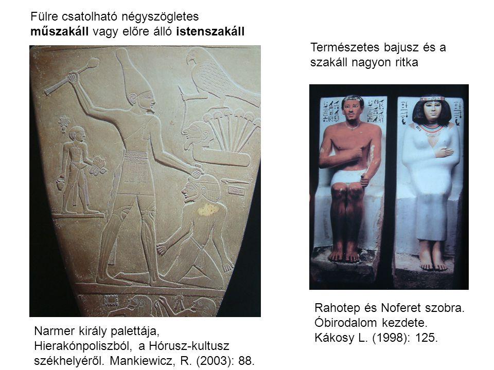 Természetes bajusz és a szakáll nagyon ritka Fülre csatolható négyszögletes műszakáll vagy előre álló istenszakáll Rahotep és Noferet szobra. Óbirodal