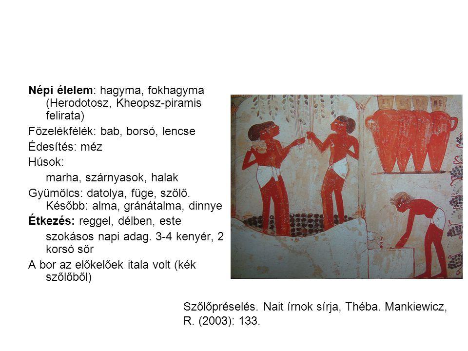Népi élelem: hagyma, fokhagyma (Herodotosz, Kheopsz-piramis felirata) Főzelékfélék: bab, borsó, lencse Édesítés: méz Húsok: marha, szárnyasok, halak G