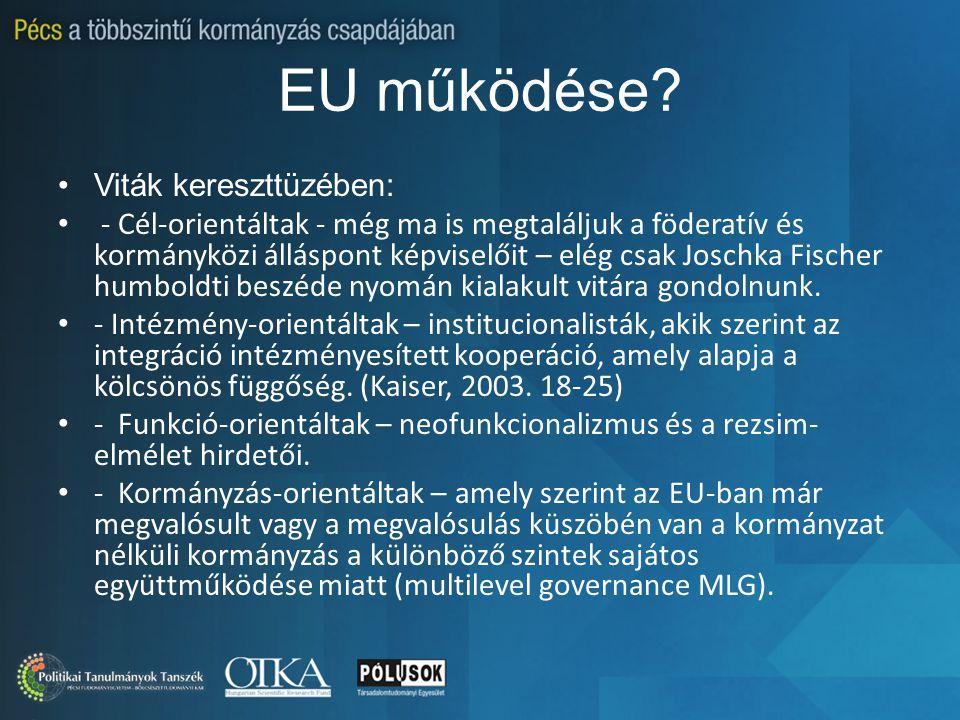 EU működése? Viták kereszttüzében: - Cél-orientáltak - még ma is megtaláljuk a föderatív és kormányközi álláspont képviselőit – elég csak Joschka Fisc