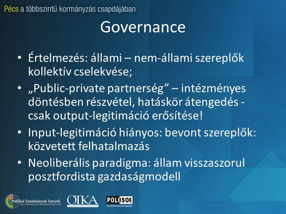 """Governance Értelmezés: állami – nem-állami szereplők kollektív cselekvése; """"Public-private partnerség – intézményes döntésben részvétel, hatáskör átengedés - csak output-legitimáció erősítése."""