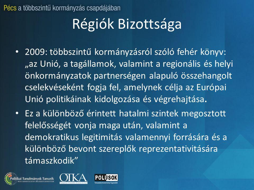 """Régiók Bizottsága 2009: többszintű kormányzásról szóló fehér könyv: """"az Unió, a tagállamok, valamint a regionális és helyi önkormányzatok partnerségen alapuló összehangolt cselekvéseként fogja fel, amelynek célja az Európai Unió politikáinak kidolgozása és végrehajtása."""