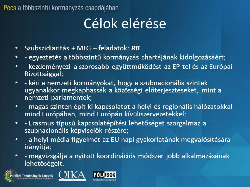 Célok elérése Szubszidiaritás + MLG – feladatok: RB - egyeztetés a többszintű kormányzás chartájának kidolgozásáért; - kezdeményezi a szorosabb együtt