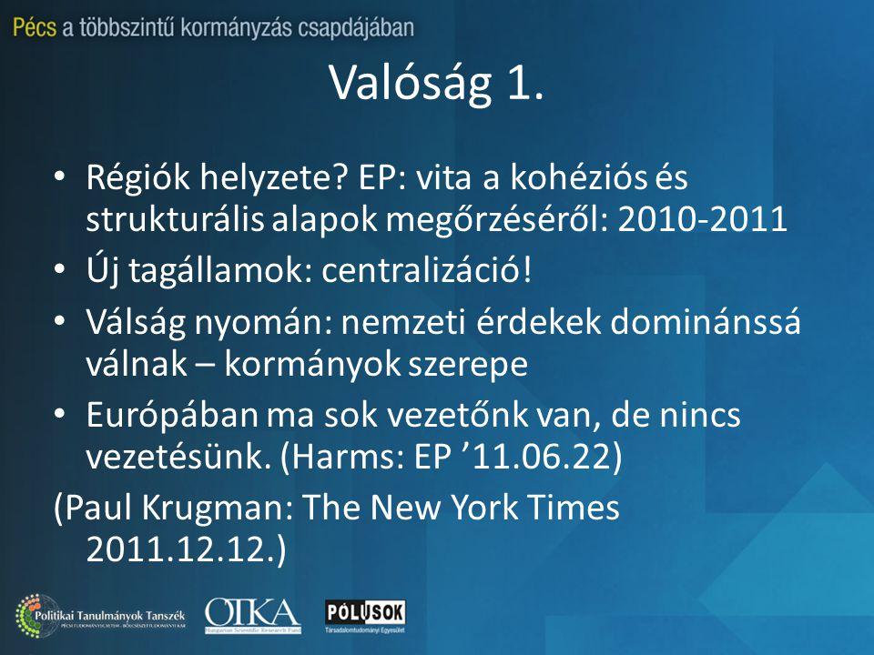 Valóság 1. Régiók helyzete? EP: vita a kohéziós és strukturális alapok megőrzéséről: 2010-2011 Új tagállamok: centralizáció! Válság nyomán: nemzeti ér