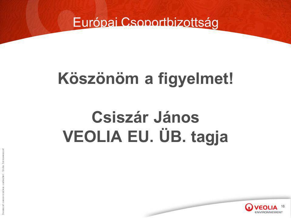 Document commercial non contractuel –Veolia Environnement 16 Köszönöm a figyelmet.