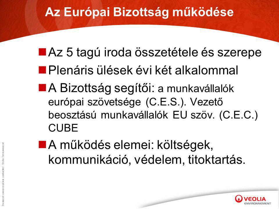 Document commercial non contractuel –Veolia Environnement Az Európai Bizottság működése Az 5 tagú iroda összetétele és szerepe Plenáris ülések évi két alkalommal A Bizottság segítői: a munkavállalók európai szövetsége (C.E.S.).