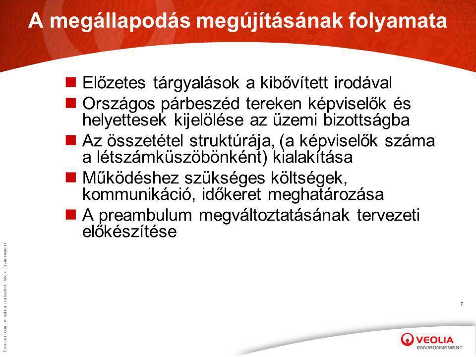 Document commercial non contractuel –Veolia Environnement 7 A megállapodás megújításának folyamata Előzetes tárgyalások a kibővített irodával Országos párbeszéd tereken képviselők és helyettesek kijelölése az üzemi bizottságba Az összetétel struktúrája, (a képviselők száma a létszámküszöbönként) kialakítása Működéshez szükséges költségek, kommunikáció, időkeret meghatározása A preambulum megváltoztatásának tervezeti előkészítése