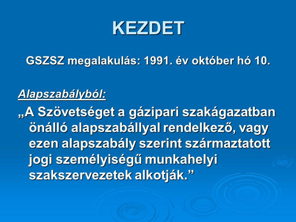 KEZDET GSZSZ megalakulás: 1991. év október hó 10.