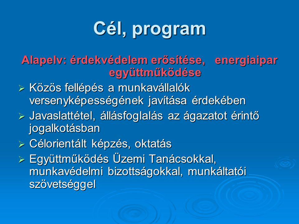 Cél, program Alapelv: érdekvédelem erősítése, energiaipar együttműködése  Közös fellépés a munkavállalók versenyképességének javítása érdekében  Javaslattétel, állásfoglalás az ágazatot érintő jogalkotásban  Célorientált képzés, oktatás  Együttműködés Üzemi Tanácsokkal, munkavédelmi bizottságokkal, munkáltatói szövetséggel