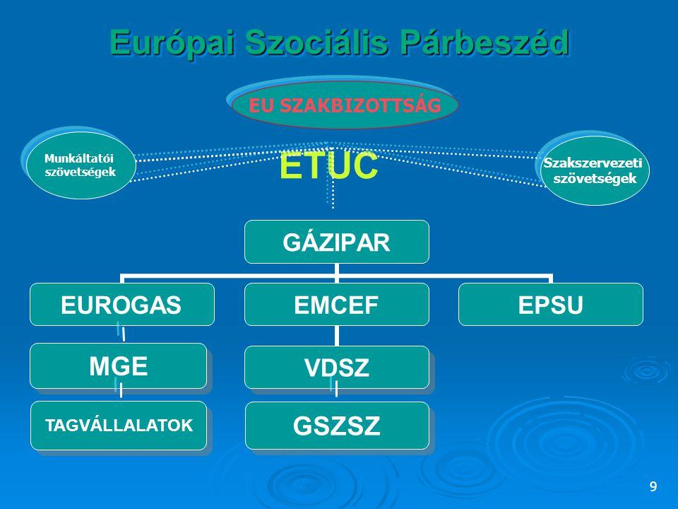 9 Európai Szociális Párbeszéd MGE ETUC GSZSZ TAGVÁLLALATOK Munkáltatói szövetségek Szakszervezeti szövetségek EU SZAKBIZOTTSÁG