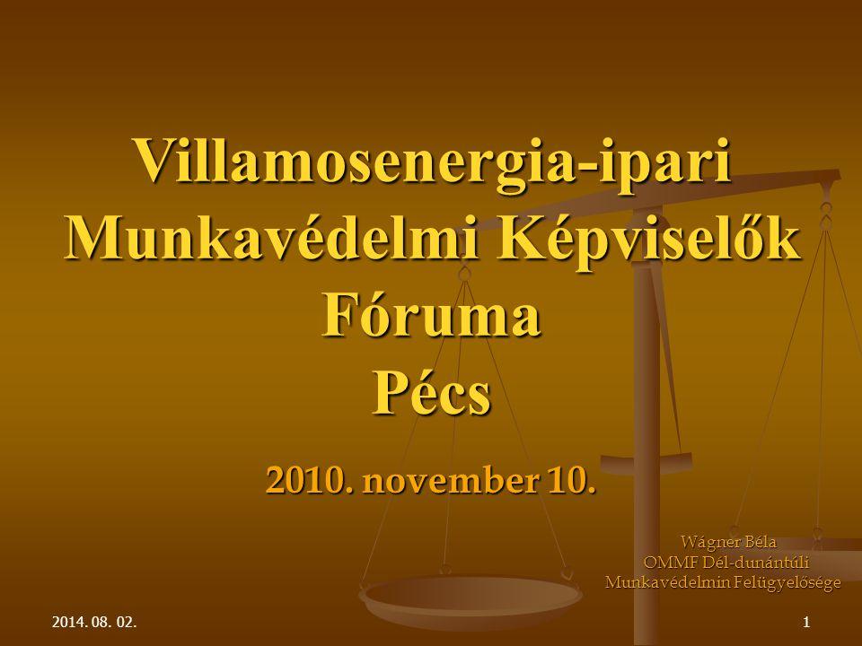 2014. 08. 02.1 Villamosenergia-ipari Munkavédelmi Képviselők FórumaPécs 2010.