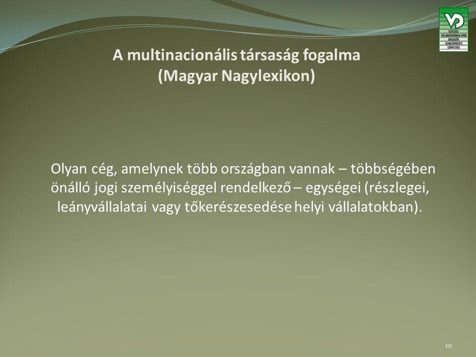 A multinacionális társaság fogalma (Magyar Nagylexikon) Olyan cég, amelynek több országban vannak – többségében önálló jogi személyiséggel rendelkező