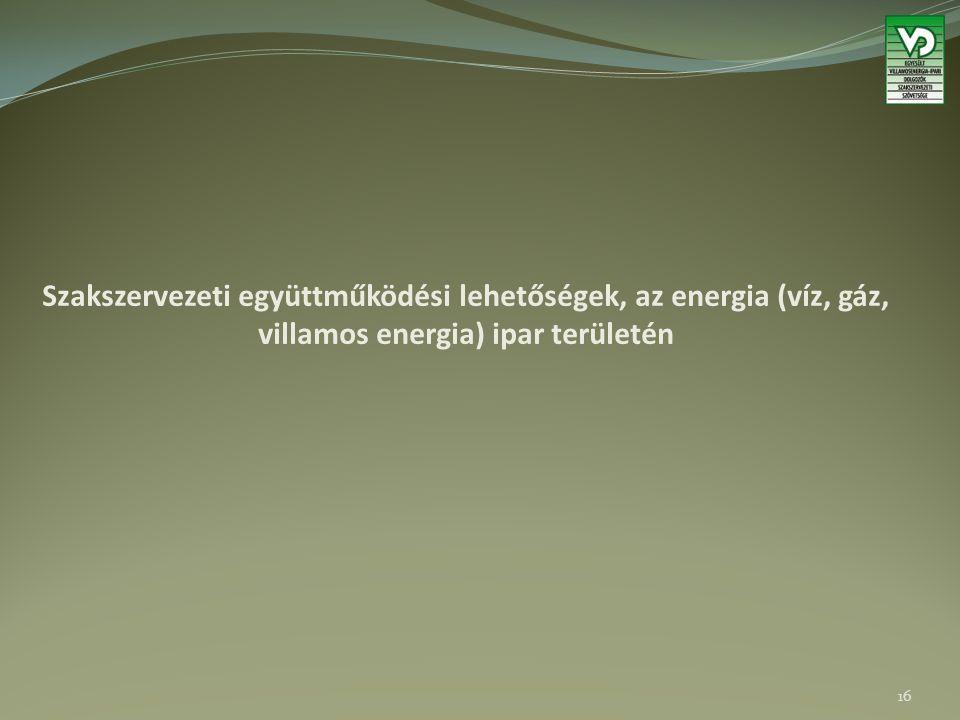 Szakszervezeti együttműködési lehetőségek, az energia (víz, gáz, villamos energia) ipar területén 16