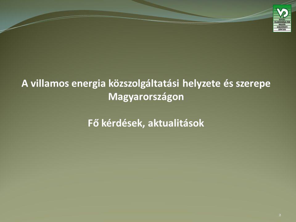 A villamos energia közszolgáltatási helyzete és szerepe Magyarországon Fő kérdések, aktualitások 2
