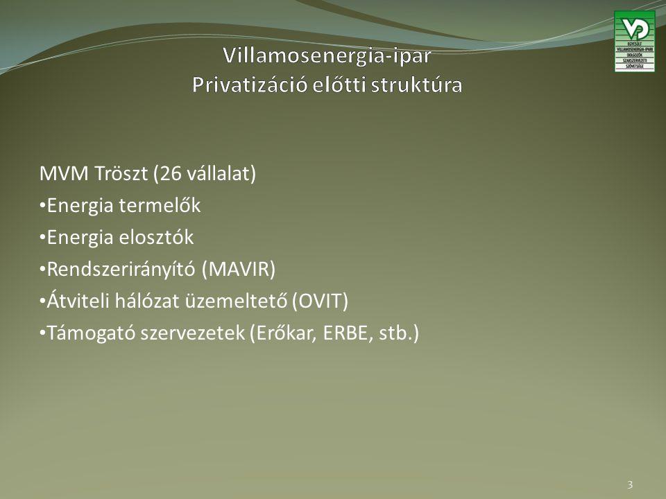 MVM Tröszt (26 vállalat) Energia termelők Energia elosztók Rendszerirányító (MAVIR) Átviteli hálózat üzemeltető (OVIT) Támogató szervezetek (Erőkar, E