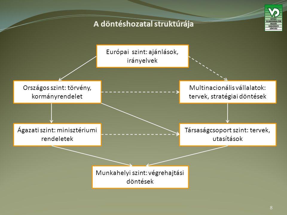 A döntéshozatal struktúrája Európai szint: ajánlások, irányelvek Országos szint: törvény, kormányrendelet Multinacionális vállalatok: tervek, stratégi