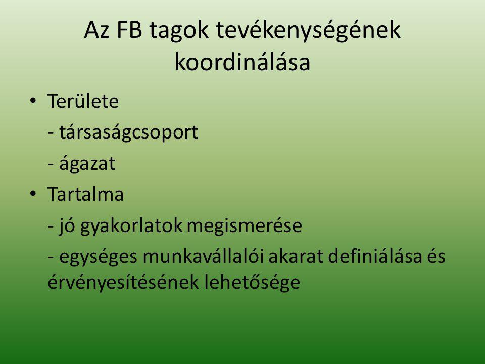 Az FB tagok tevékenységének koordinálása Területe - társaságcsoport - ágazat Tartalma - jó gyakorlatok megismerése - egységes munkavállalói akarat definiálása és érvényesítésének lehetősége