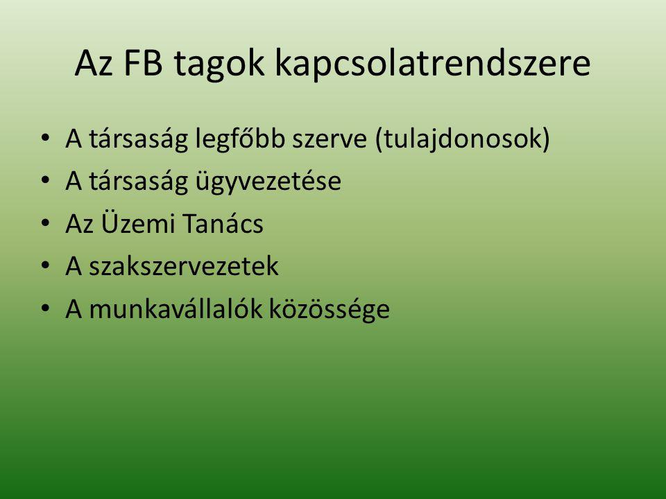 Az FB tagok kapcsolatrendszere A társaság legfőbb szerve (tulajdonosok) A társaság ügyvezetése Az Üzemi Tanács A szakszervezetek A munkavállalók közös