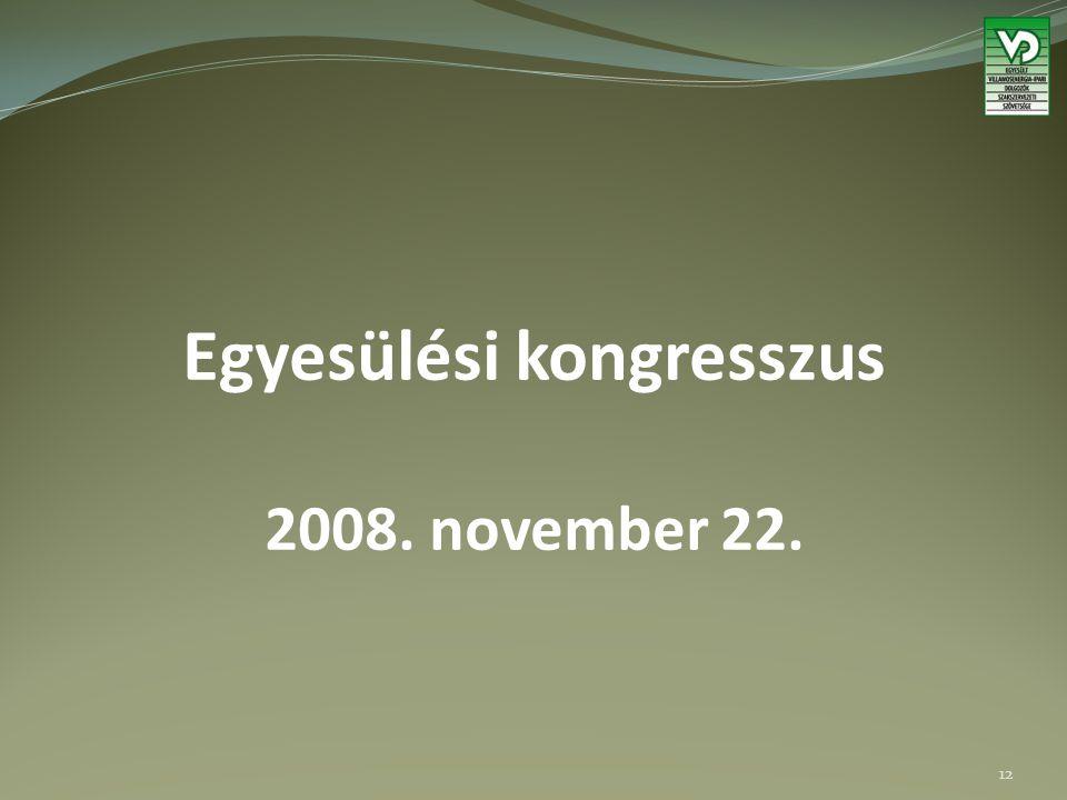 Egyesülési kongresszus 2008. november 22. 12
