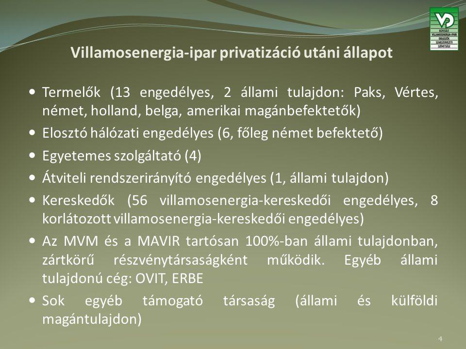 Villamosenergia-ipar privatizáció utáni állapot Termelők (13 engedélyes, 2 állami tulajdon: Paks, Vértes, német, holland, belga, amerikai magánbefektetők) Elosztó hálózati engedélyes (6, főleg német befektető) Egyetemes szolgáltató (4) Átviteli rendszerirányító engedélyes (1, állami tulajdon) Kereskedők (56 villamosenergia-kereskedői engedélyes, 8 korlátozott villamosenergia-kereskedői engedélyes) Az MVM és a MAVIR tartósan 100%-ban állami tulajdonban, zártkörű részvénytársaságként működik.