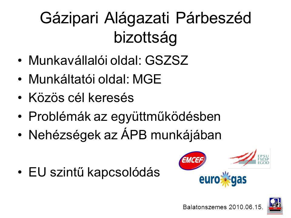 Balatonszemes 2010.06.15. Gázipari Alágazati Párbeszéd bizottság Munkavállalói oldal: GSZSZ Munkáltatói oldal: MGE Közös cél keresés Problémák az együ