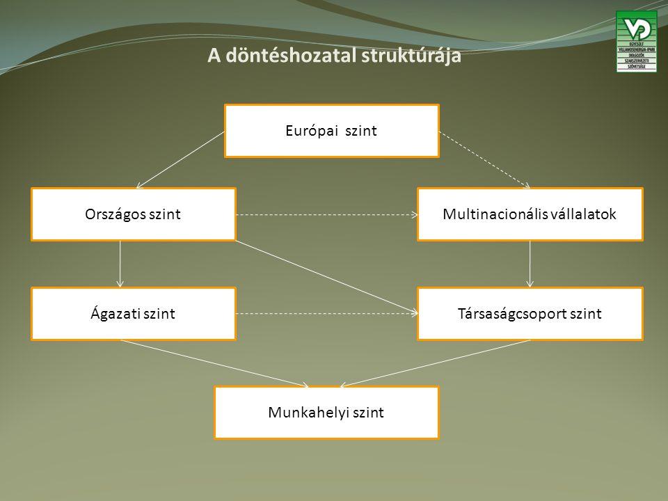 A döntéshozatal struktúrája Európai szint Országos szintMultinacionális vállalatok Ágazati szintTársaságcsoport szint Munkahelyi szint