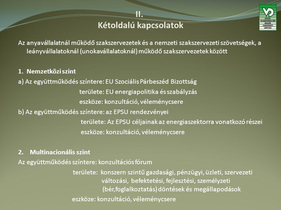 II. Kétoldalú kapcsolatok Az anyavállalatnál működő szakszervezetek és a nemzeti szakszervezeti szövetségek, a leányvállalatoknál (unokavállalatoknál)